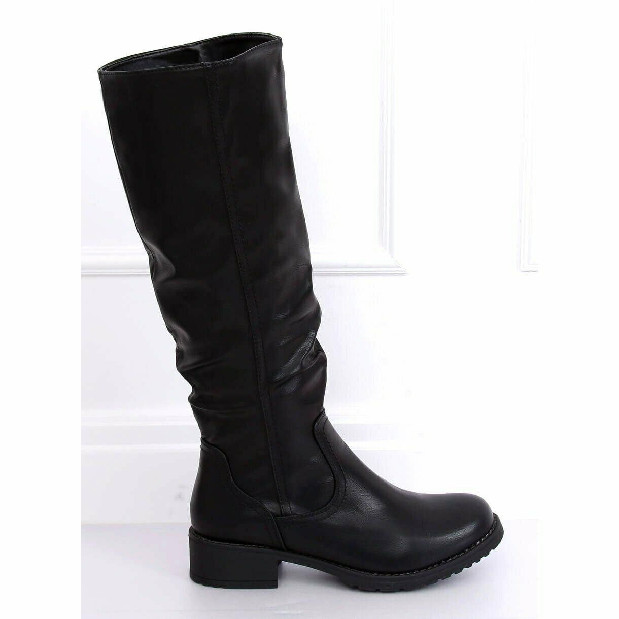 botas planas negras para dama