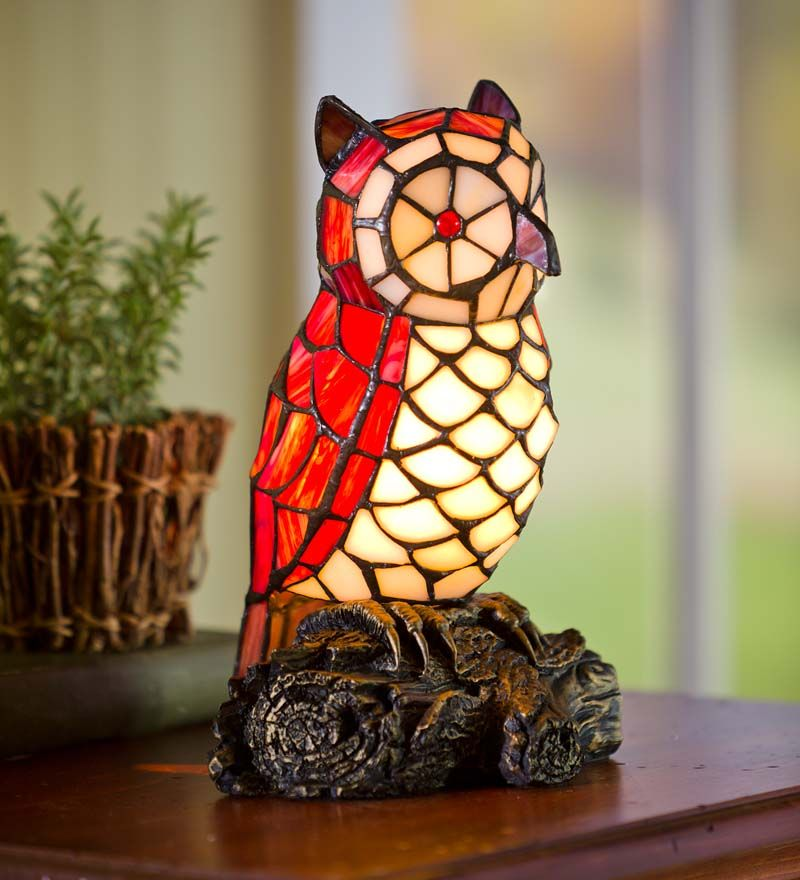 Tiffany style stained glass owl accent lamp