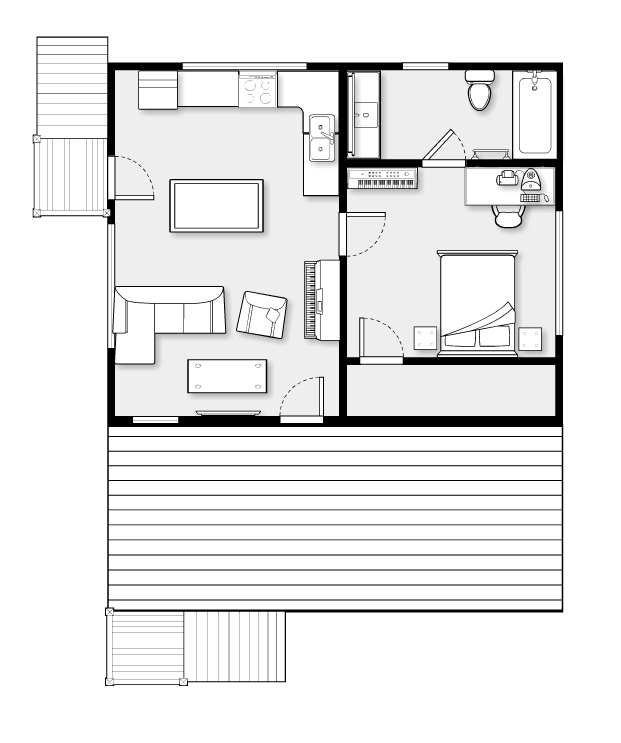 Garage Apartment (built With Room Planner). I Would Flip The Bathroom So  You Can Enter Through The Living Room And Not Just The Bedroom.