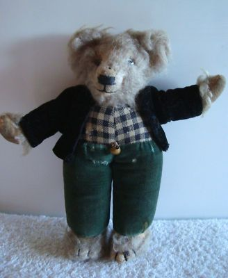 Norah Wellings miniature Teddy Bear with orig. label, 1930s, 7'' -- every kid crazy 'bout a sharp-dressed bear.