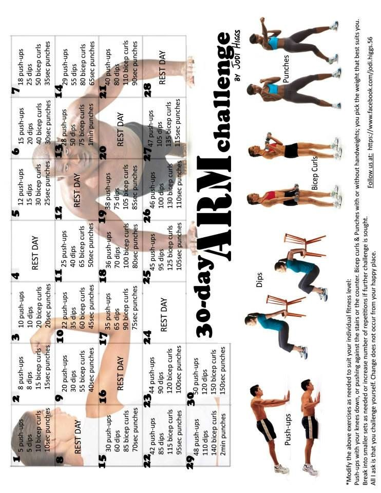 Arm 30 day challenge 30 day challenge 30 day fitness
