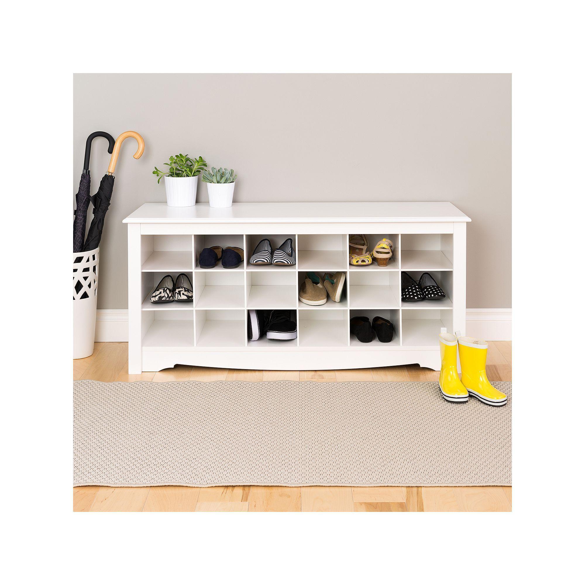 Prepac Shoe Storage Cubby Bench White