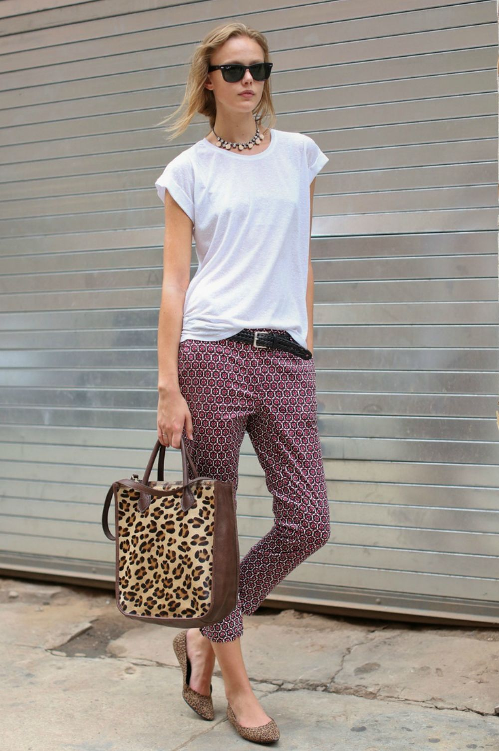 patterned pants + leopard + white tee