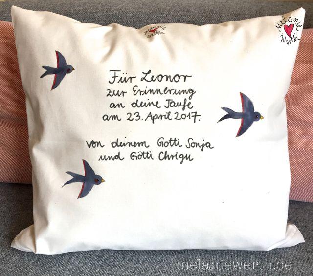 kissenbezug aus bio baumwolle geschenk zur taufe geschenk f r das patenkind malerei f r. Black Bedroom Furniture Sets. Home Design Ideas