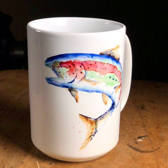Watercolor Rainbow Trout Watercolor Coffee Mug Watercolour