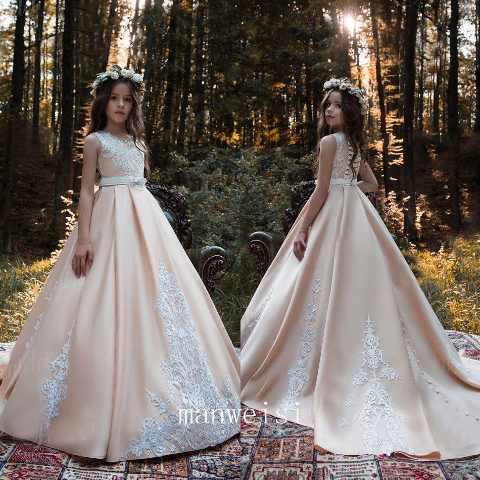 Champagne flower girl dress elegant long train aline lace prom