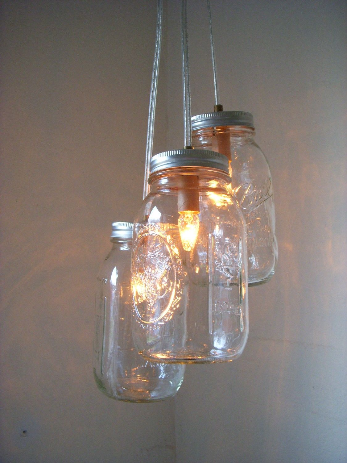 Country glow mason jar chandelier 3 quart jars handcrafted mason country glow mason jar chandelier hanging pendant by bootsngus 7000 arubaitofo Choice Image