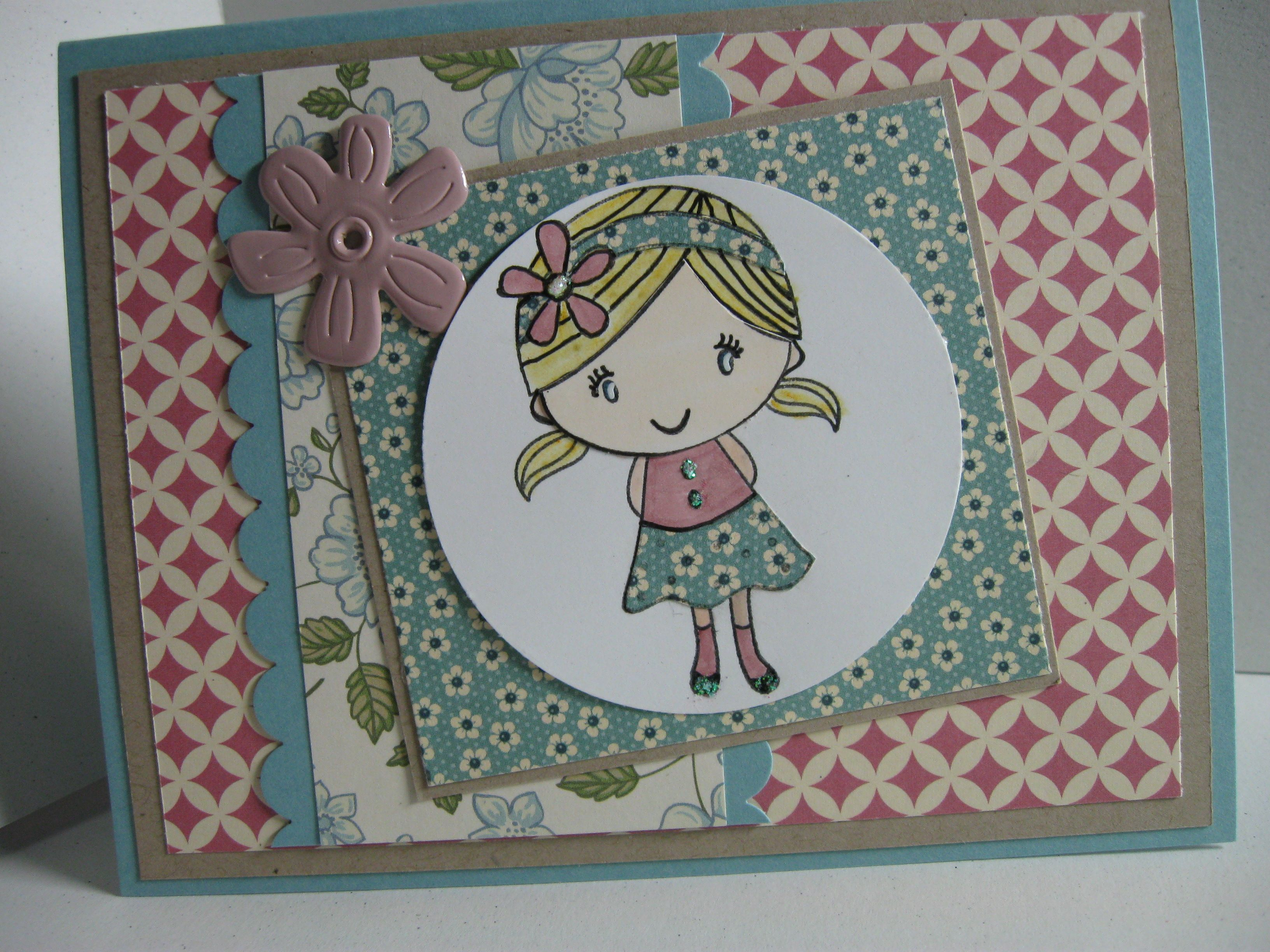 sweet little girl card i made  kids cards cards card