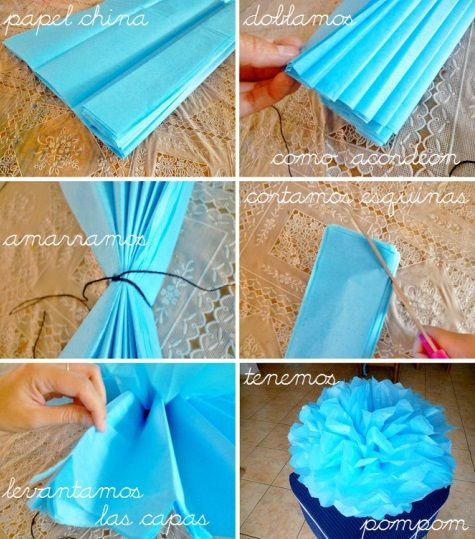 C mo hacer paso a paso flores o pompones con papel de seda - Decoracion con pompones ...