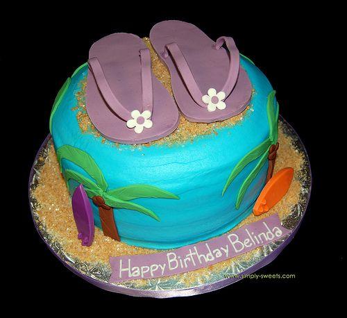 Purple flip flop Hawaiian birthday cake Half birthday Birthdays