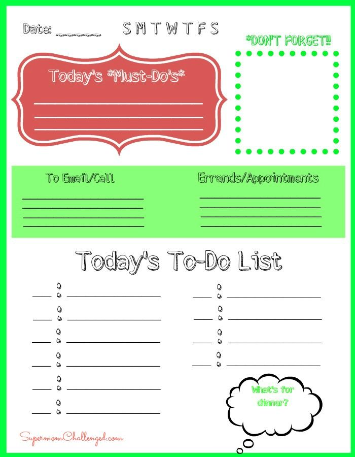 weekly to do list printable Free Daily To - Do List Printable for