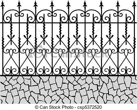 Vector Wrought Iron Fence 1 Stock Illustration Royalty Free