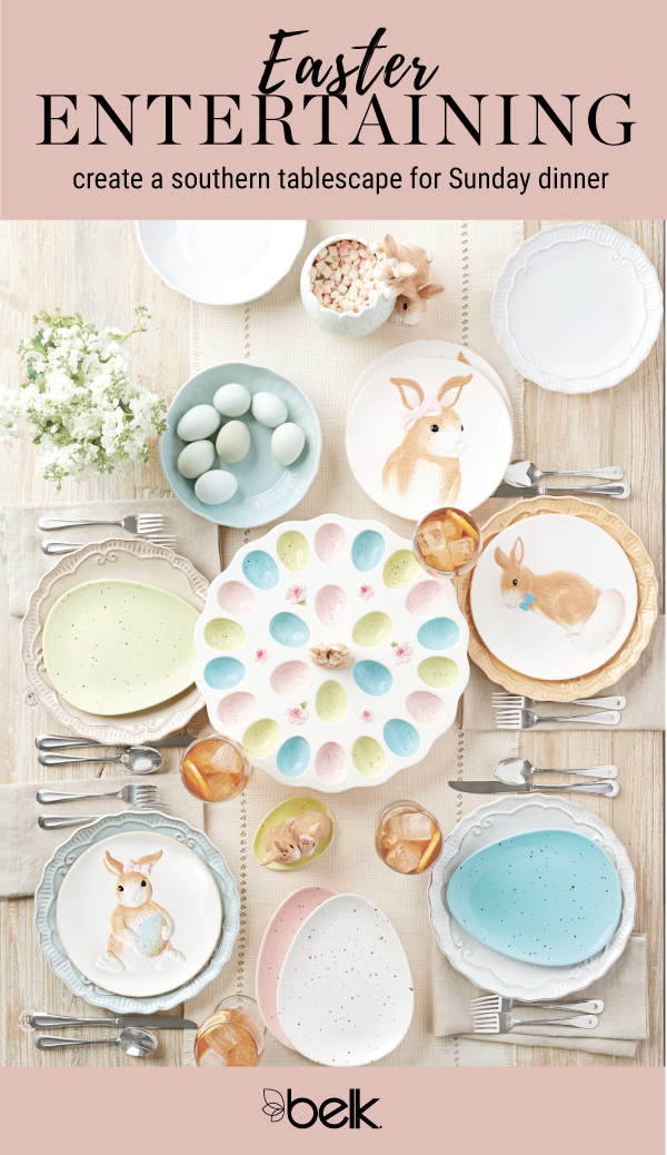 ... for Sunday dinner with Easter-themed dinnerware from Home Accents® available exclusively at Belk. Set the table with egg-shaped plates in pastel hues.  sc 1 st  Pinterest & Get ready to host the family for Sunday dinner with Easter-themed ...