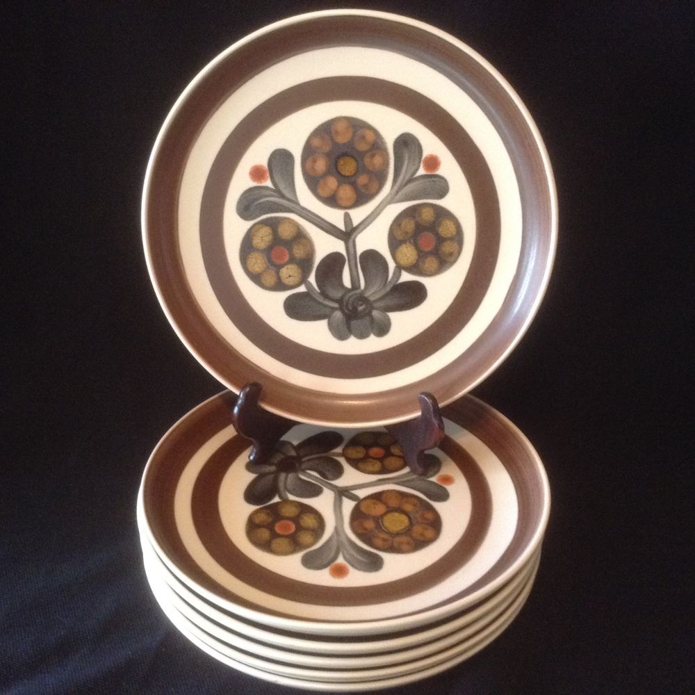 Denby Langley MAYFLOWER Salad Dessert Plates Set of 6 Retro Mod Floral Brown EC #DenbyLangley & Denby Langley MAYFLOWER Salad Dessert Plates Set of 6 Retro Mod ...