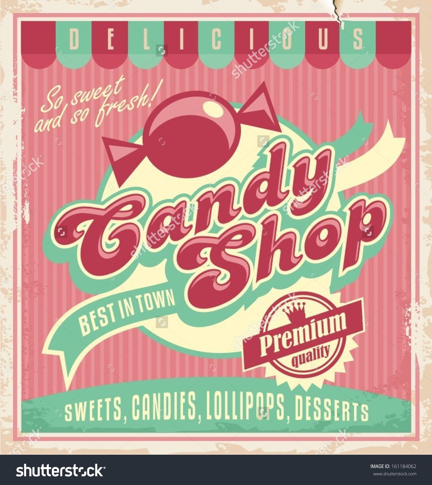 Vintage poster template for candy shop. Poster template