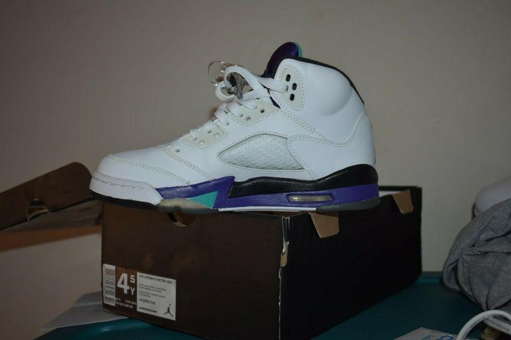 best sneakers d4658 ec5bc 2013 New Grape 5 V Size 4.5y Nike Air Jordan Sneakers Deadstock Retro OG  RARE
