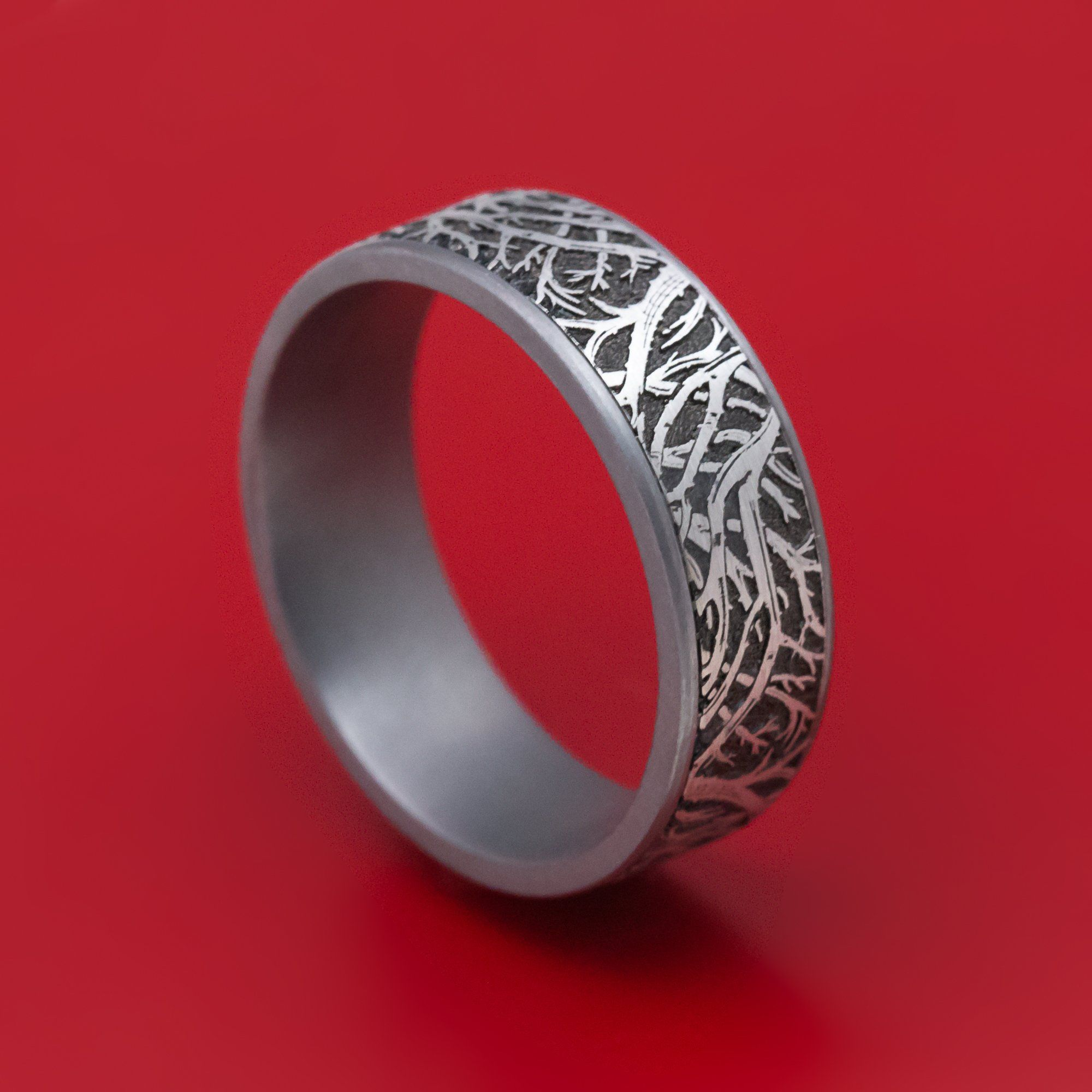 Tantalum Forest Trees Pattern Mens Ring in 2020 Rings