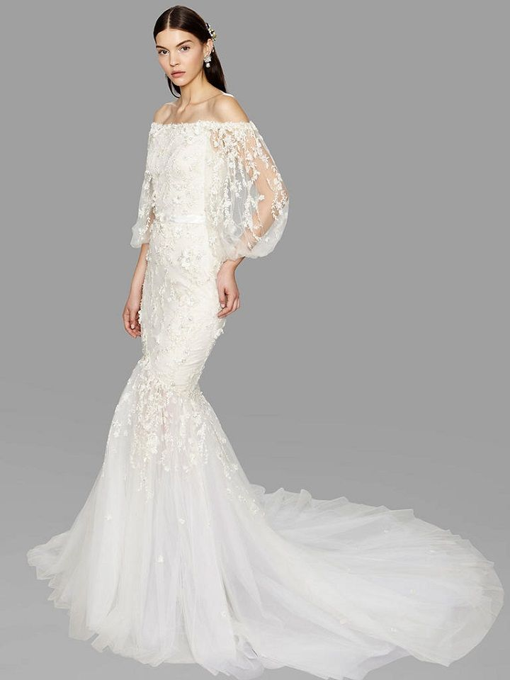 off-the-shoulder draped sleeve mermaid wedding dress from Marchesa bridal fall 2017 | fabmood.com #bridal #engaged #weddings #weddingdresses #wedding #weddingdress #bridalgown #weddinggown