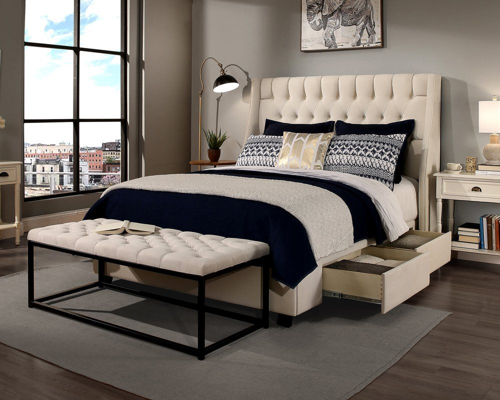 Difranco Upholstered Wingback Headboard Storage bed