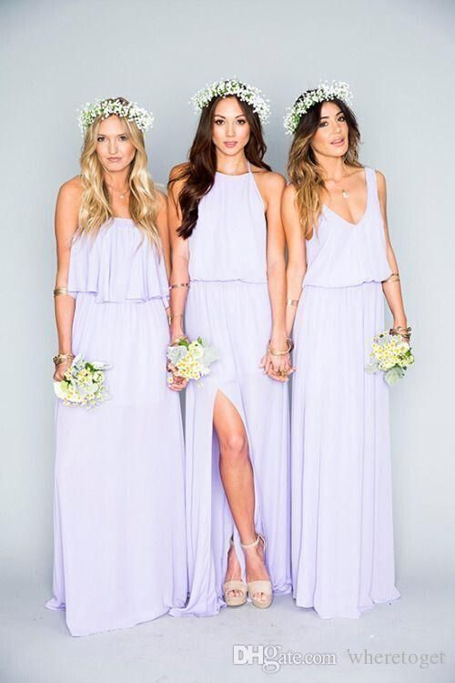 2861a30619f 2016 Summer Beach Bohemian Bridesmaid Dresses Mixed Chiffon Split Side  Custom Made Maid Of Honor Sexy Boho Party Gowns