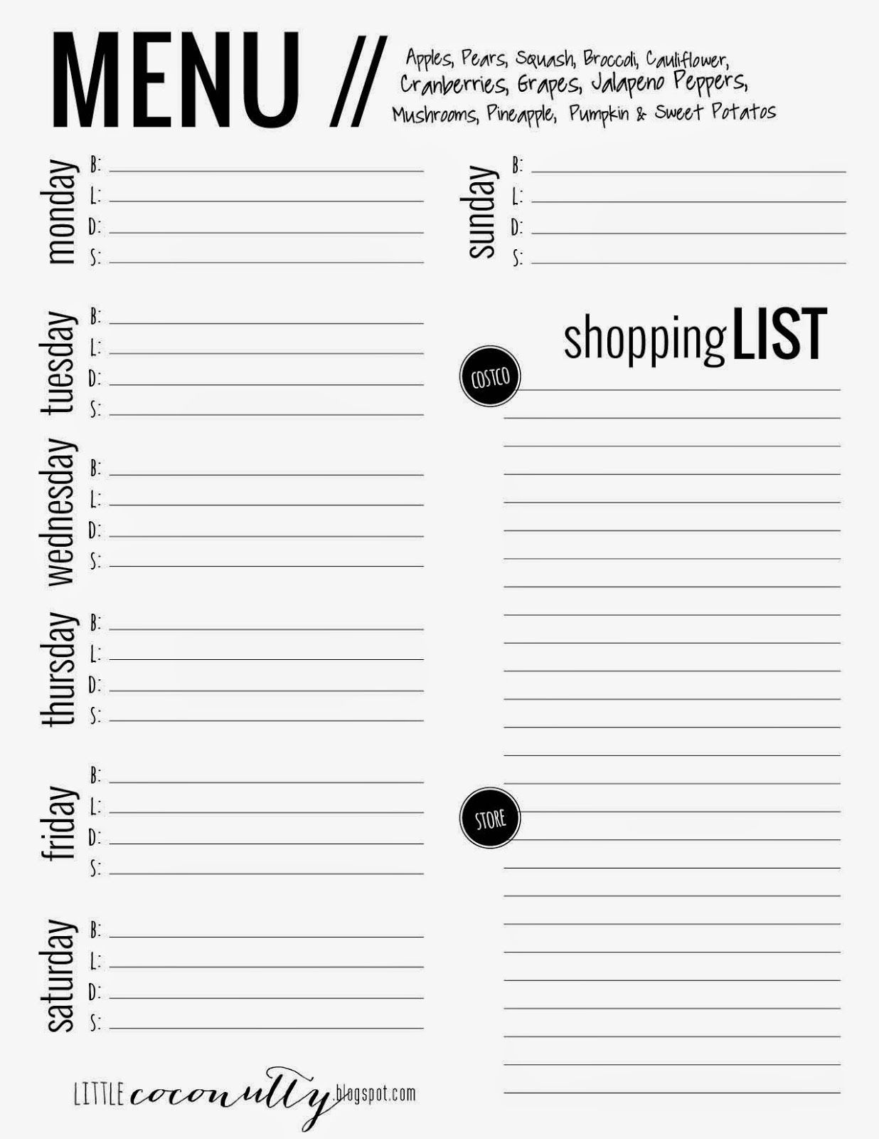Little Coconutty Free Menu Planner Printable