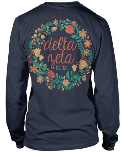 Delta Zeta Floral Wreath Delta Zeta Shirts Delta Phi Epsilon