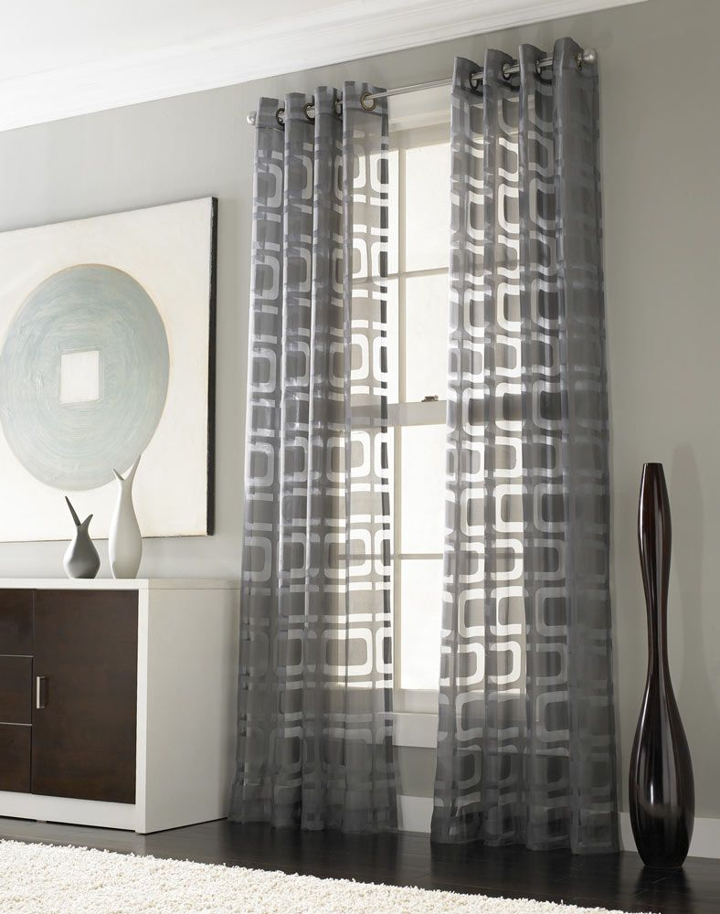 Stylish gray pattern windows curtain with amusing drawer in amazing
