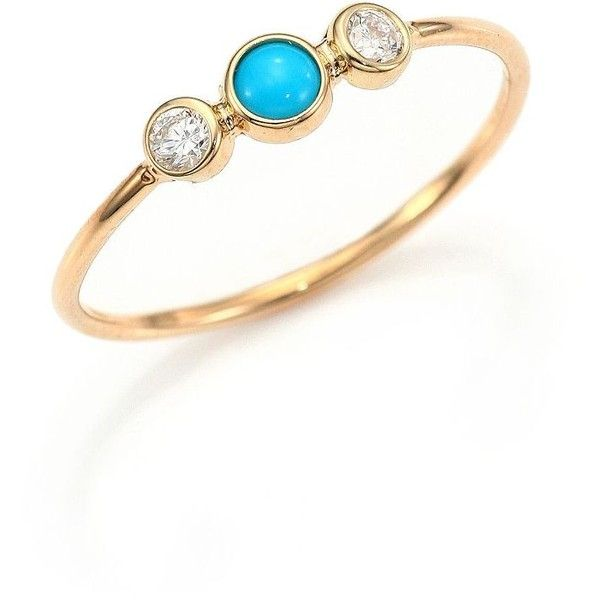 Zoe Chicco Diamond, Turquoise & 14K Yellow Gold Ring ($475) ❤ liked on Polyvore featuring jewelry, rings, apparel & accessories, 14k gold jewelry, cabochon ring, turquoise diamond ring, 14k turquoise ring and diamond rings