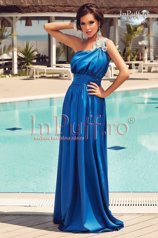 rochie de seara albastru electric pe un umar with images rochii rochii elegante modele pinterest