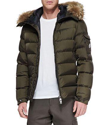 Moncler Byron Fur Trim Hood Puffer Cardigan, Brown | Jackets