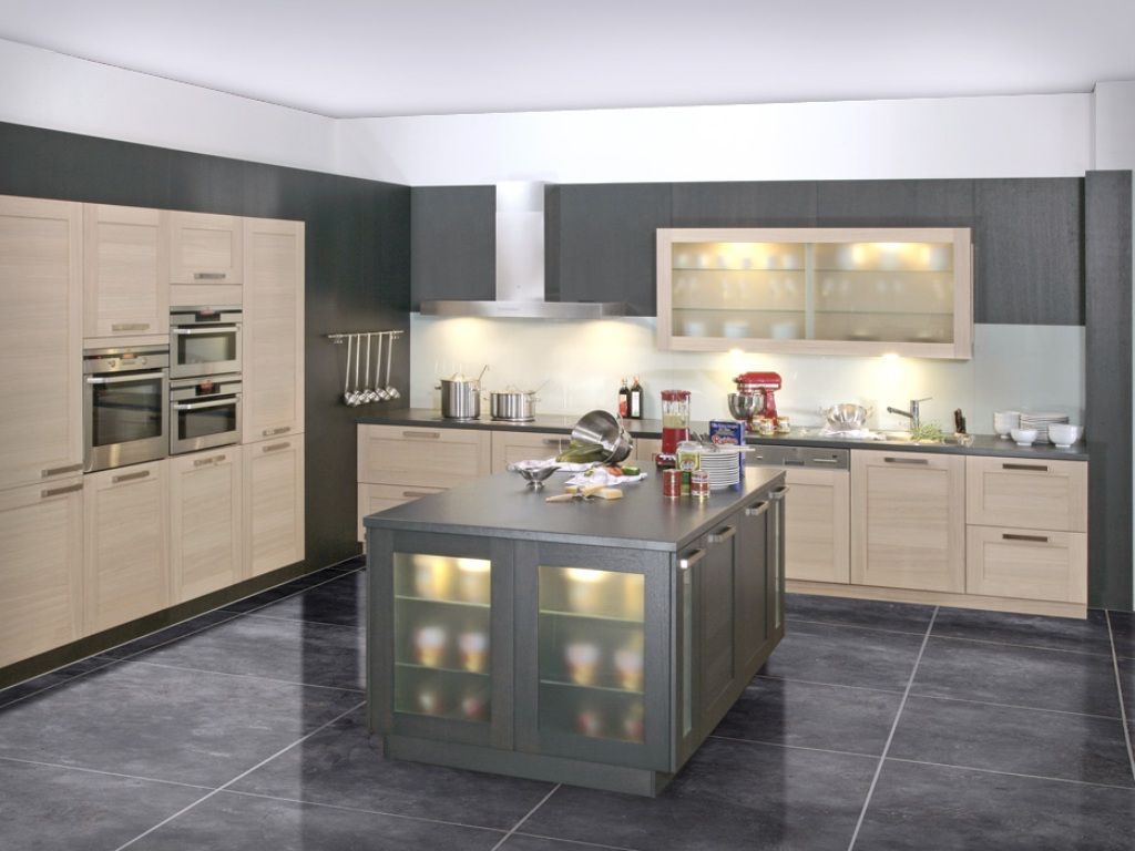 Cream and grey modern kitchen design my house ideas for Kitchen ideas in grey