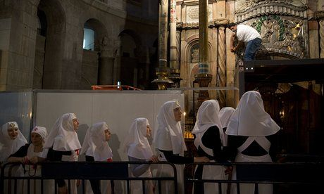 Shelf where Jesus's body is thought to have been laid after crucifixion is exposed in $4m restoration of Church of the Holy Sepulchre