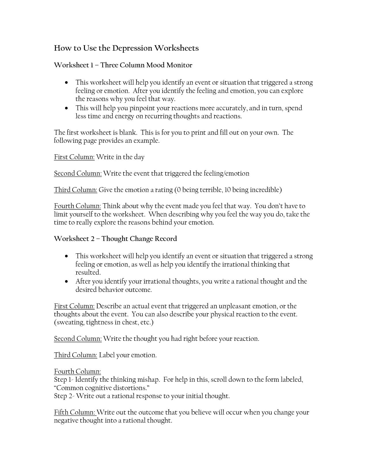 Rational Emotive Therapy Worksheet Depression – Rational Emotive Therapy Worksheet
