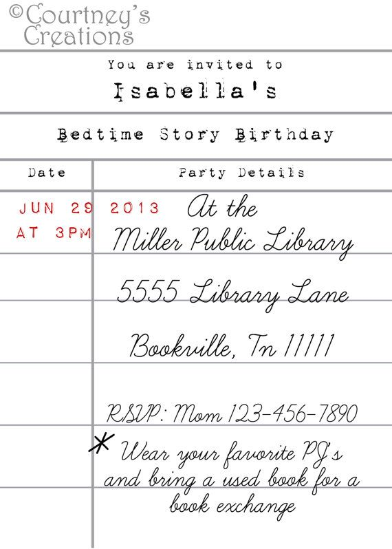 5x7 Printable Library Card Style Book Themed Birthday Invitation