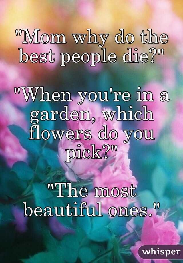 Mom Why Do The Best People Die Young Google Search Young Quotes Dying Young Quotes Powerful Quotes