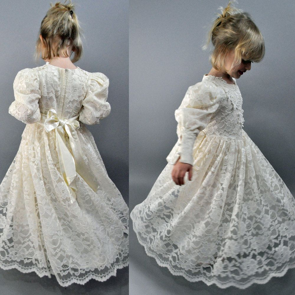 little girls vintage VICTORIAN lace wedding / bridal FLOWER GIRL dress - Childrens Size 5. $59.00, via Etsy.