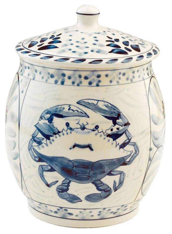 This Blue Crab Bay Stoneware cookie jar is hand painted with a beautiful blue crab design is a perfect addition to your beach cottage kitchen!  sc 1 st  Pinterest & Blue Crab Bay Cookie Jar | Cookie jars Dinnerware and Jar