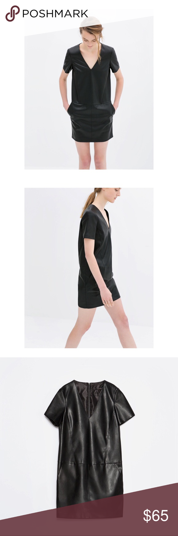 Zara faux leather v neck mini midi dress faux leather v neck