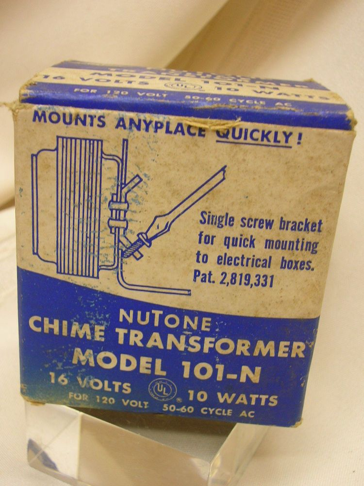 Vintage Nutone Chime Transformer Model 101 N In Original Box 16 Volts 10 Watts Nutone 10 Things Chimes Original Box