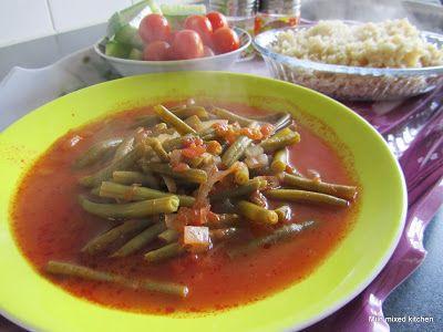 Zeytinyağlı taze fasulye (sperziebonen met ui, tomaat en knoflook) #Turkseten #Turkishfood
