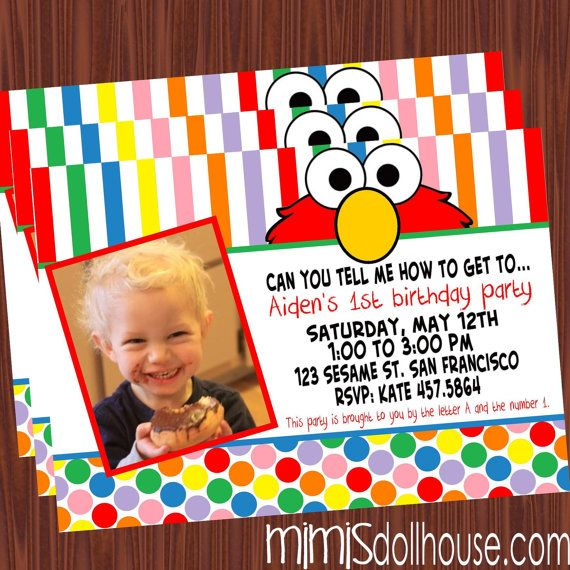 Elmo Invitation Sesame Street Invitation by MimisDollhouse on Etsy