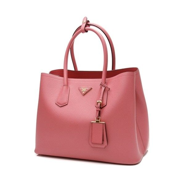 Pre Owned Prada Pink Saffiano Leather Medium Double Tote Bag 1 500 Liked