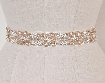 Rose Gold Wedding Belt Bridal Sash Blush Pink Crystal And Rhinestone Seed Beaded Orante