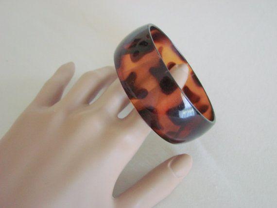 Wide Lucite Faux Amber Vintage Bangle Bracelet by JoysShop on Etsy, $13.95
