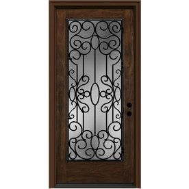 Shop JELD WEN Aurora Insulating Core Full Lite Left Hand Inswing Caramel  Fiberglass Stained Prehung Entry Door (Common: X Actual