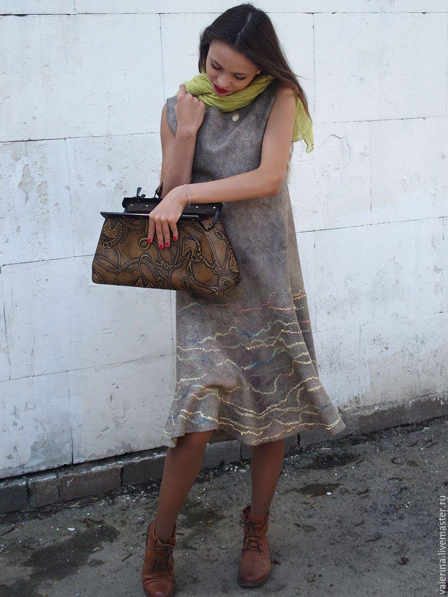 """Купить Платье валяное """"ВЕТЕР ПЕРЕМЕН"""" - оливковый, абстрактный, валяное платье, женское платье"""