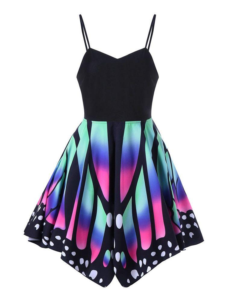 f10512fc051a S-5XL Butterfly Irregular Dress Spaghetti Strap Slim Lace-up Mini Dresses# Dress, #Spaghetti, #Irregular