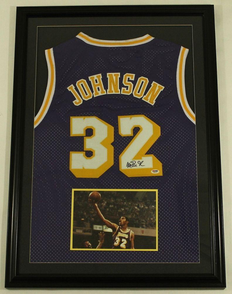 Magic Johnson Signed Lakers 25x35 Custom Framed Jersey