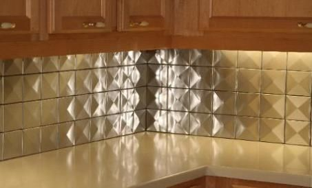 Customer Photo Stainless Steel Backsplash Modern Contemporary Kitchen Look Square Tile Stacked Pattern