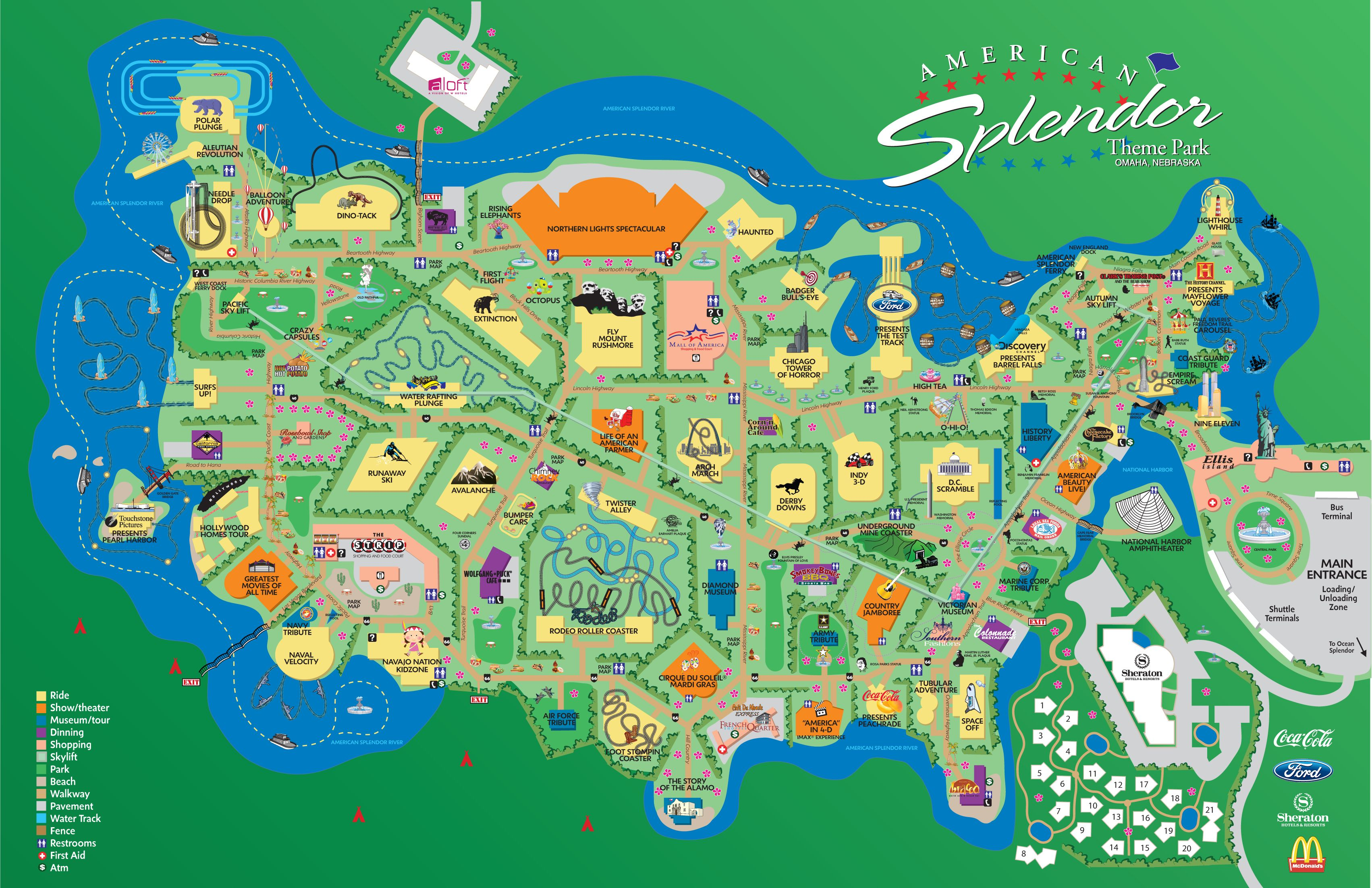 Theme Park Map | Omaha/Architecture | Pinterest | Parks, Theme ...
